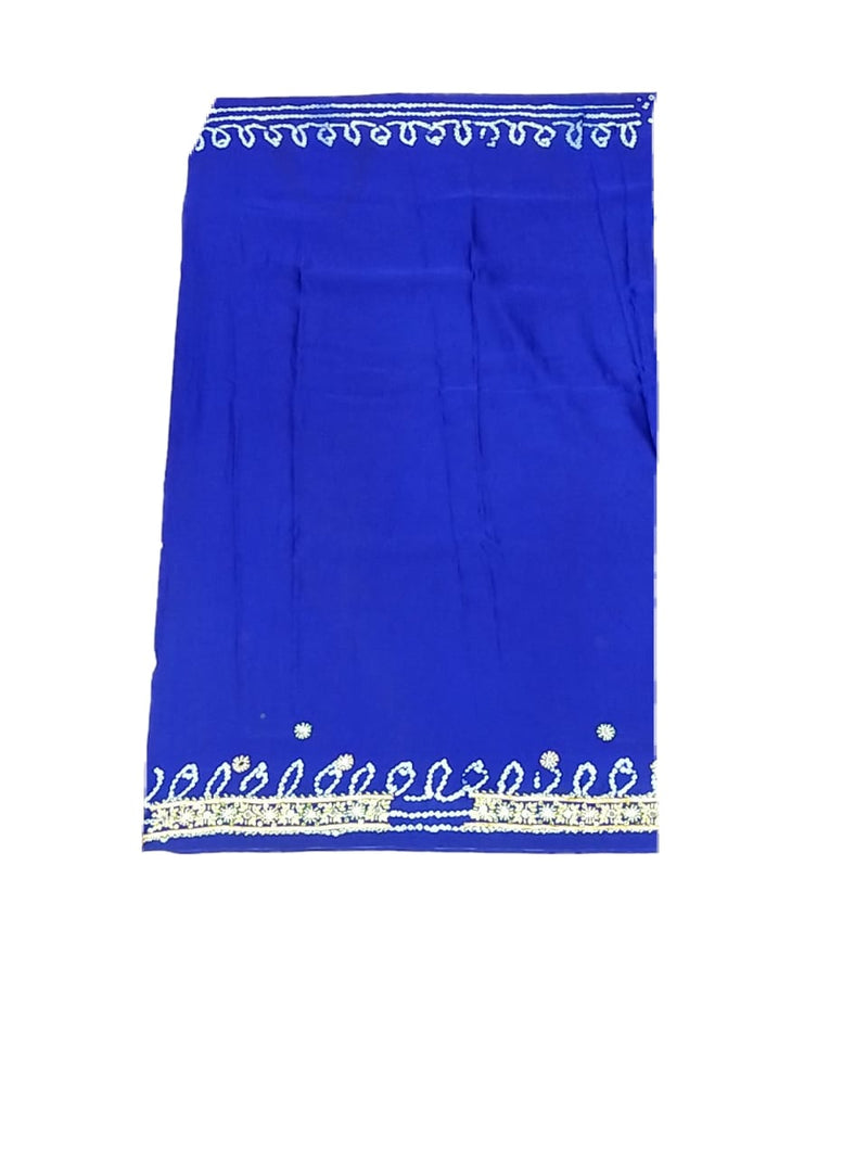 All Over Blue Color Diamond Work Gaji Silk Bandhani Saree - KalaSanskruti Retail Private Limited