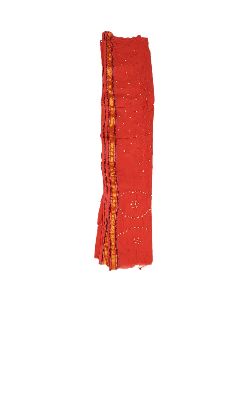 Red And Orange Color Fancy Design Cotton Satin Bandhani Dress Material