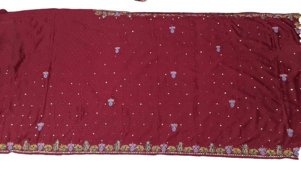 All Over Red Color Diamond Work Design Gaji Silk Bandhani Saree - KalaSanskruti Retail Private Limited