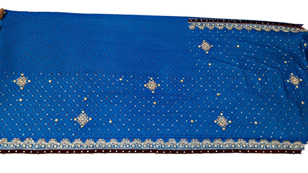 All Over Sky Blue Color Fancy Design Work Gaji Silk Bandhani Saree - KalaSanskruti Retail Private Limited