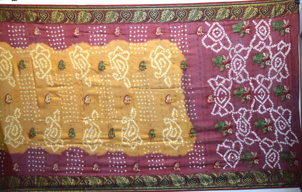 Maroon And Rust Color Weaving Work Design Art Silk Bandhani Saree