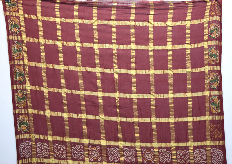 All Over Maroon Color Kachhi Checks Design Cotton Gharchora - KalaSanskruti Retail Private Limited