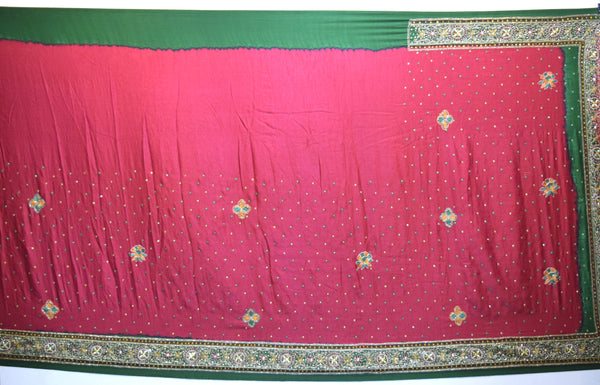 Red And Green Color Diamond Work Design Gaji Silk Gharchora