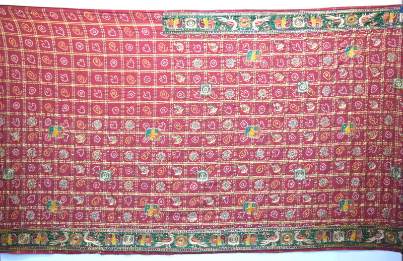 All Over Red Color Double Patti Checks Cotton Gharchora - KalaSanskruti Retail Private Limited