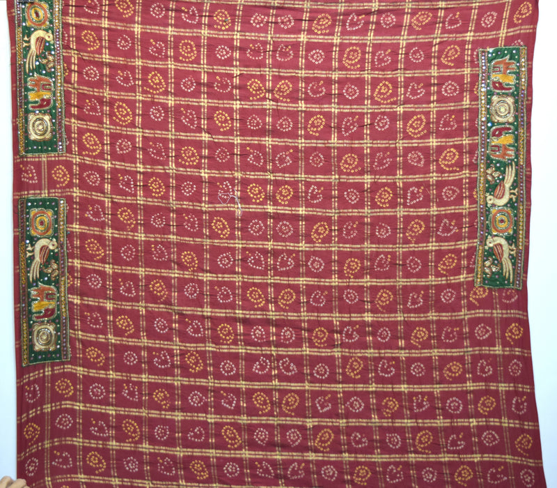All Over Red Color Double Patti Checks Cotton Gharchora