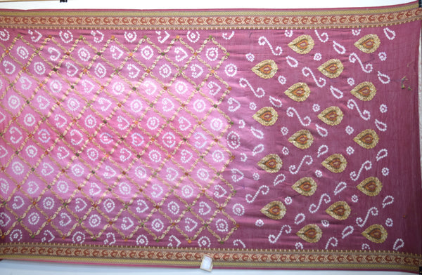 Pink And Magenta Color Resham Work Design Gadhwal Bandhani Saree