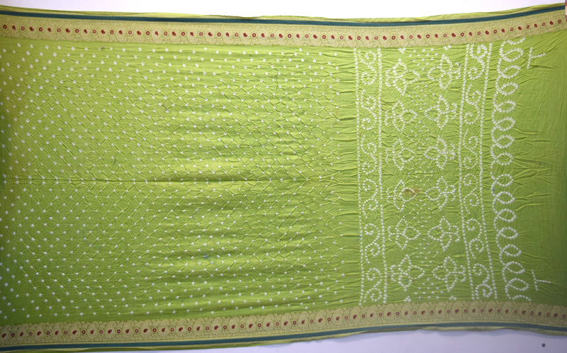 All Over Green Color Gadhwal Bandhani Saree