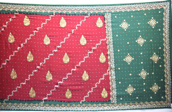 Red And Green Color Diamond Work Fancy Gaji Silk Gharchora - KalaSanskruti Retail Private Limited