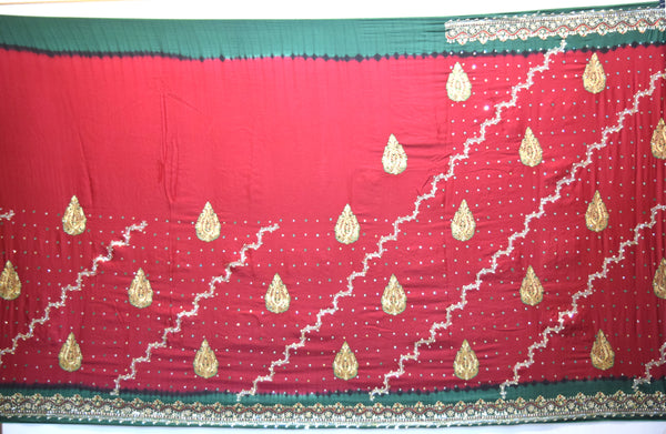 Red And Green Color Diamond Work Fancy Gaji Silk Gharchora