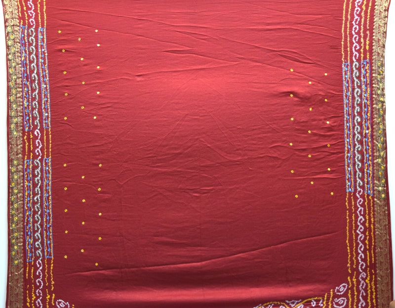 All Over Red Color Sikari Design Gaji Silk Gharchora