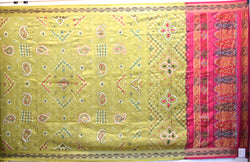 Mahendi And Pink Color Hand Work Design Art Silk Bandhani Saree