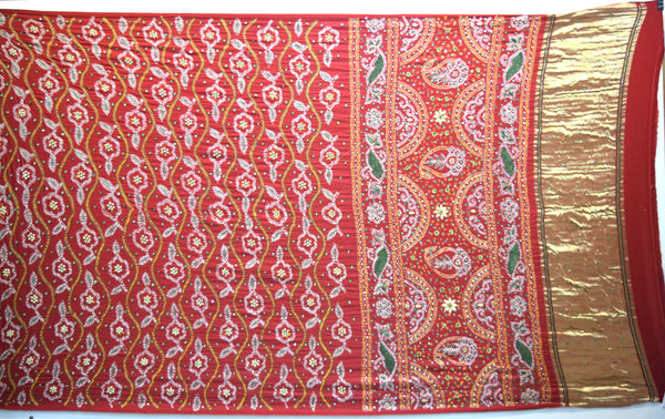 All Over Red Color Diamond Work Fancy Design Gaji Silk Gharchora