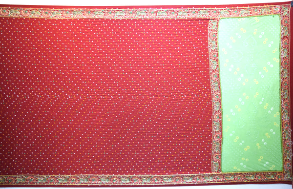All Over Red Dani Fancy Design Gaji Silk Gharchora