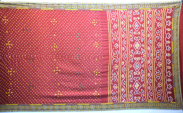 All Over Red Dani Design Gaji Silk Gharchora
