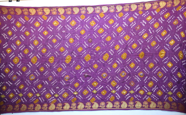Rust And Lavender Color Hand Work Design Art Silk Bandhani Saree