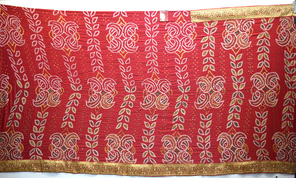 All Over Red Color Banarasi Border Work Gaji Silk Gharchora