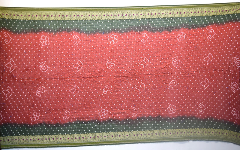 Red And Green Color Fancy Gadhwal Bandhani Saree