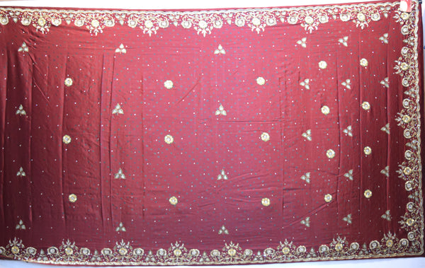All Over Maroon Dani Zardosi Work Gaji Silk Gharchora