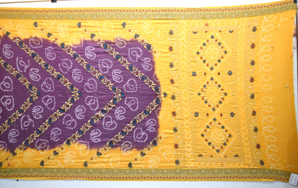 Yellow And Magenta Color Resham Work Design Gadhwal Bandhani Saree