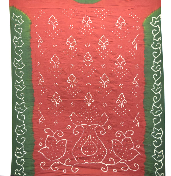 Red And Green Color Fancy Design Cotton Bandhani Kurti