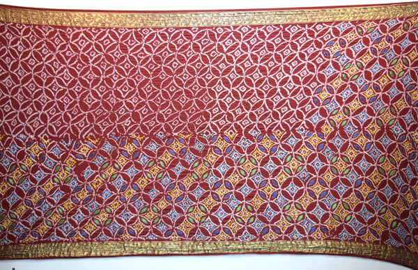 All Over Red Color Thread Work Design Gaji Silk Gharchora