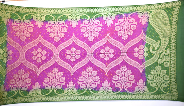 Green And Pink Color Banarasi Georgette Bandhani Dupatta - KalaSanskruti Retail Private Limited