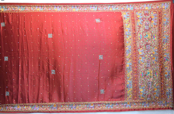 All Over Maroon Color Diamond Work Fancy Design Gaji Silk Gharchora