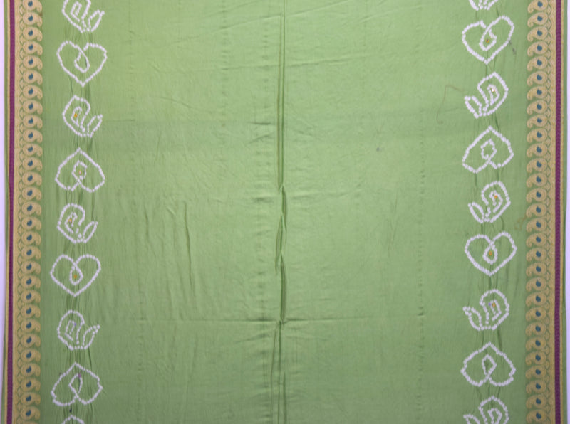 All Over Parrot Green Color Hand Work Design Gadhwal Bandhani Saree