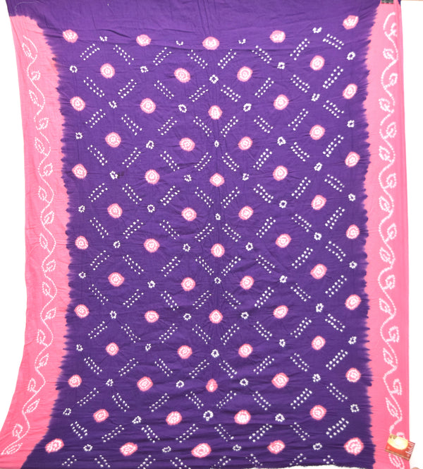 Blue And Pink Color Cotton Bandhani Kurti