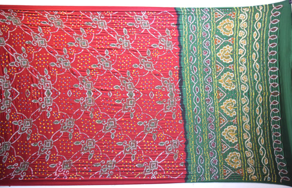 Red And Green Color Thread Work Design Gaji Silk Gharchora
