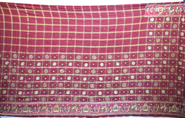 All Over Maroon Color Diamond Work Design Cotton Gharchora