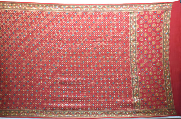 All Over Red Color Diamond Work Design Gaji Silk Gharchora
