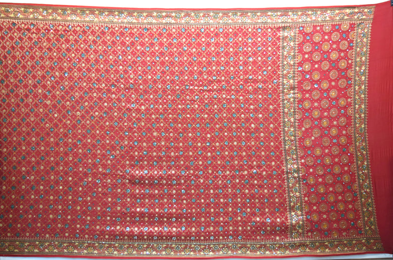 All Over Red Color Diamond Work Design Gaji Silk Gharchora - KalaSanskruti Retail Private Limited