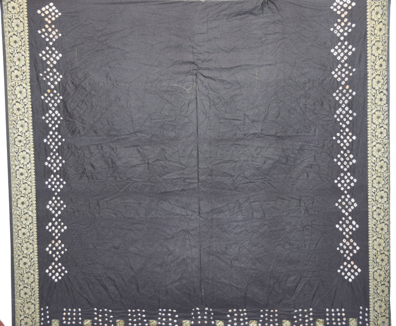 All Over Black Color Checks Design Gadhwal Bandhani Saree - KalaSanskruti Retail Private Limited