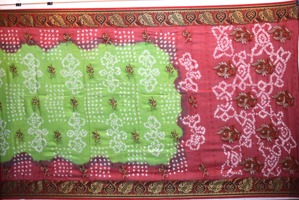 Red And Parrot Green Color Weaving Work Design Art Silk Saree