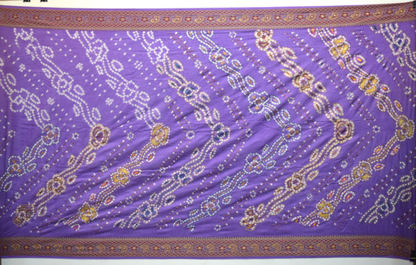 All Over Lavender Color Hand Work Design Gadhwal Bandhani Saree