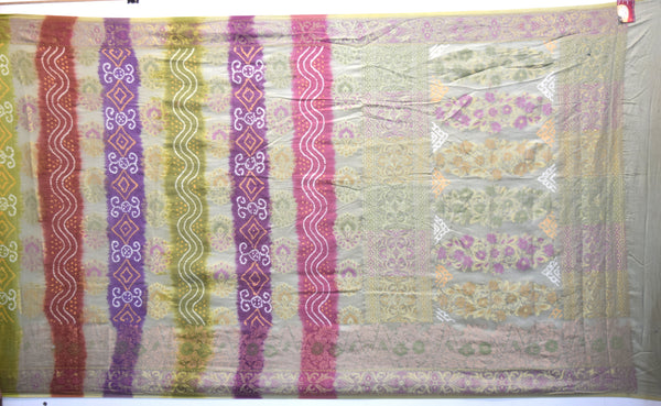 Purple And Grey Color Weaving Work Design Gadhwal Bandhani Saree