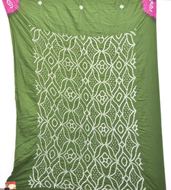 Green And Pink Color Cotton Bandhani Kurti