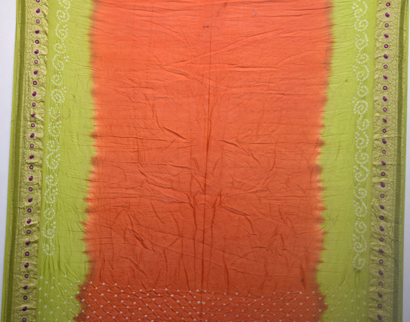 Rust And Parrot Green Color Gadhwal Bandhani Saree