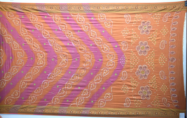 Rust And Pink Color Hand Work Design Gadhwal Bandhani Saree