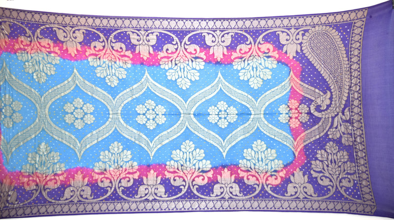 Sea Green, Blue, Pink Color Banarasi Georgette Bandhani Dupatta
