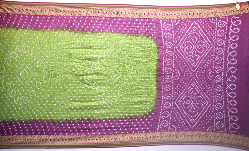 Mahendi And Magenta Fancy Gadhwal Bandhani Saree - KalaSanskruti Retail Private Limited