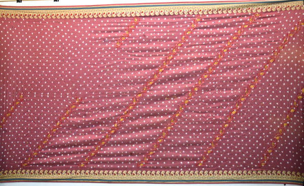 All Over Gajri Color Hand Work Gadhwal Bandhani Saree