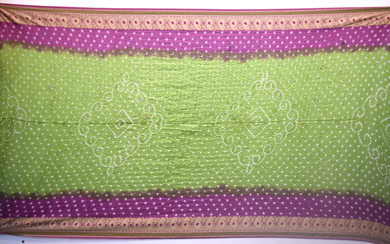 Mahendi And Magenta Fancy Gadhwal Bandhani Saree