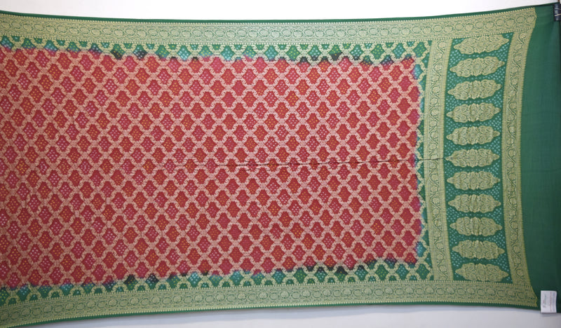 Green And Red Shaded Color Banarasi Georgette Bandhani Dupatta