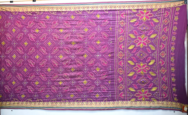 All Over Magenta Color Hand Work Design Gadhwal Bandhani Saree