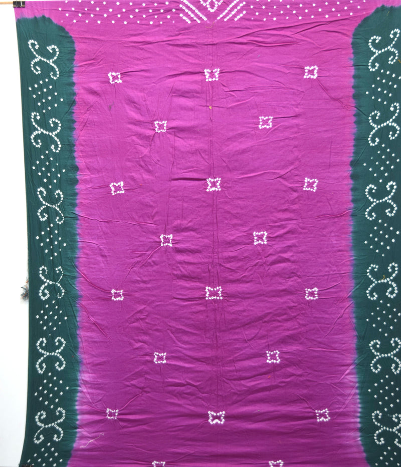 Magenta And Green Color Cotton Bandhani Kurti