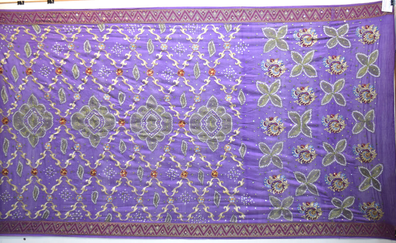 All Lavender Color Hand Work Design Gadhwal Bandhani Saree