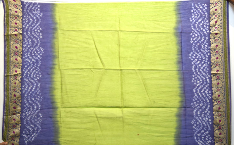 Parrot Green And Blue Color Gadhwal Bandhani Saree