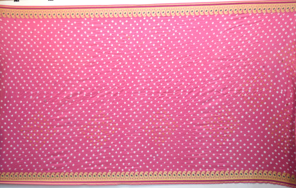 All Over Pink Color Hand Work Design Gadhwal Bandhani Saree